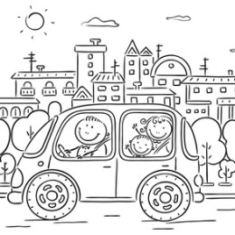 Happy family travelling by car - black and white